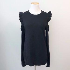 Michael Kors Black Cold Shoulder Ruffle Sweater